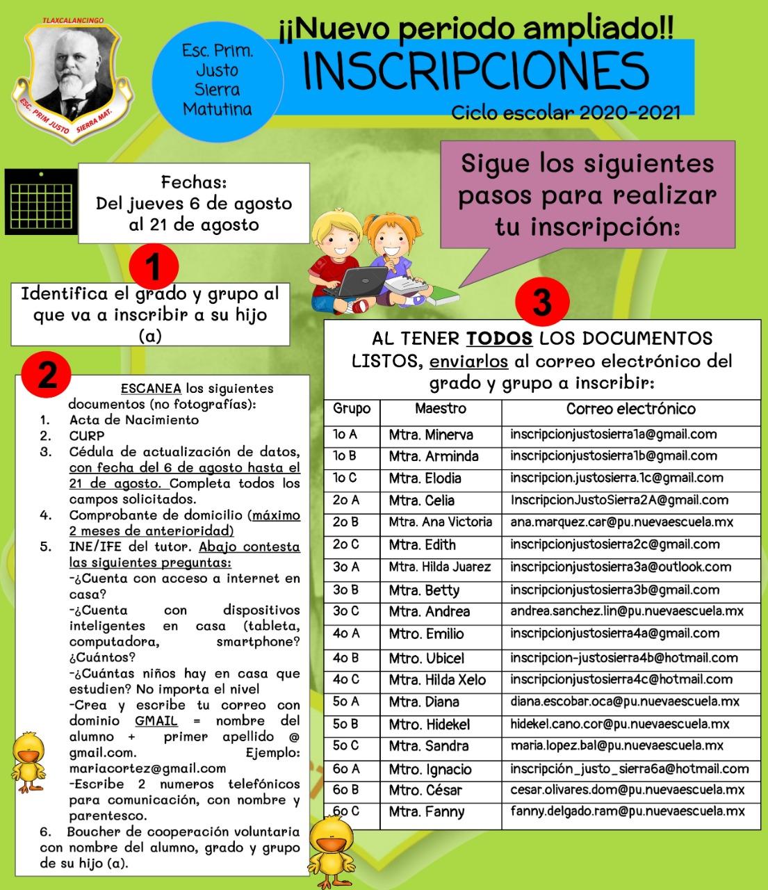 Inscripciones primaria Justo Sierra